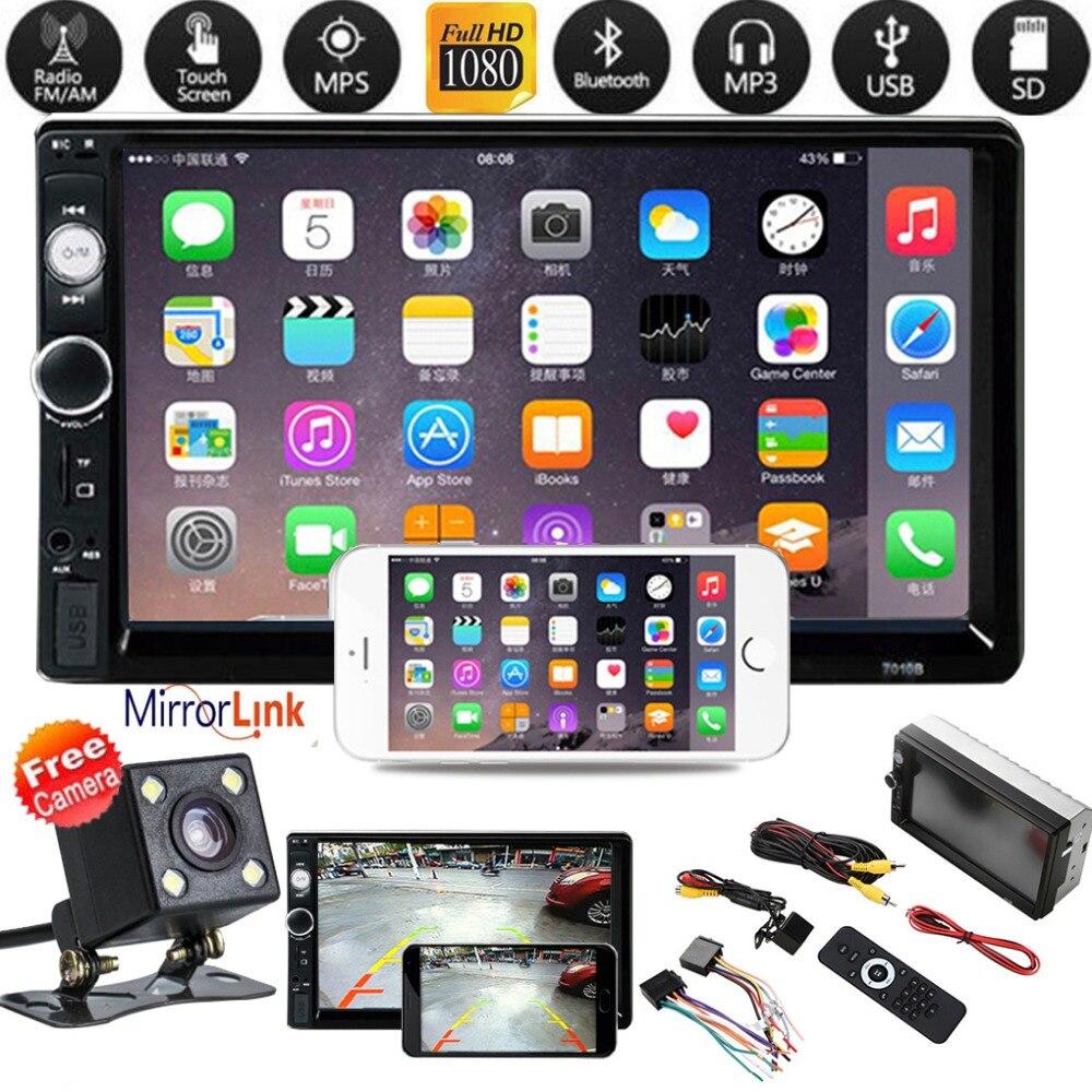 Véhicule voiture noir 2 Din MP5 lecteur Radio stéréo 7 pouces HD écran tactile avec caméra inversée lien miroir