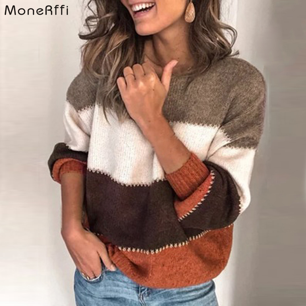 MoneRffi Fashion Women Striped Sweater Autumn O Neck Long Sleeve Sweater Loose Knit Pullover Patchwork Pull Femme Jersey Mujer