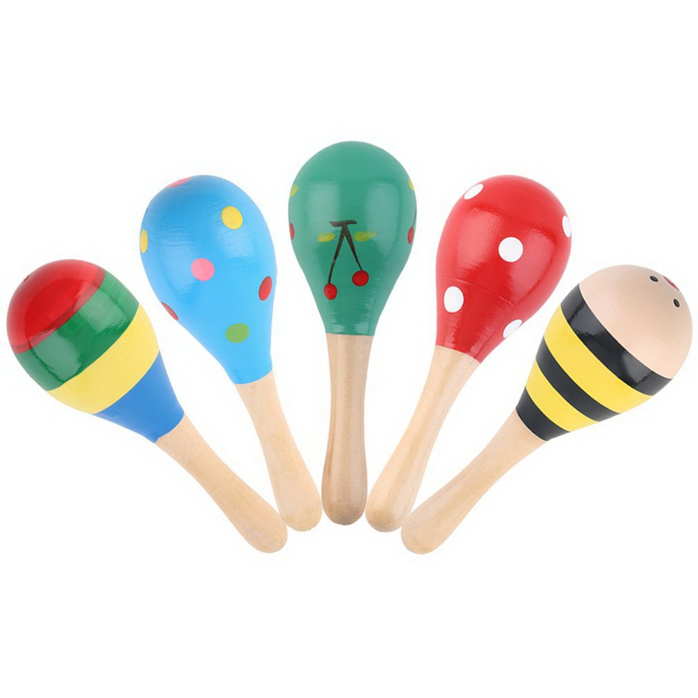 5 Pcs Kids Wooden Ball Rattle Toy Sand Hammer Rattle Educational Learning Musical Instrument Percussion For Baby 0-12 Month Hot