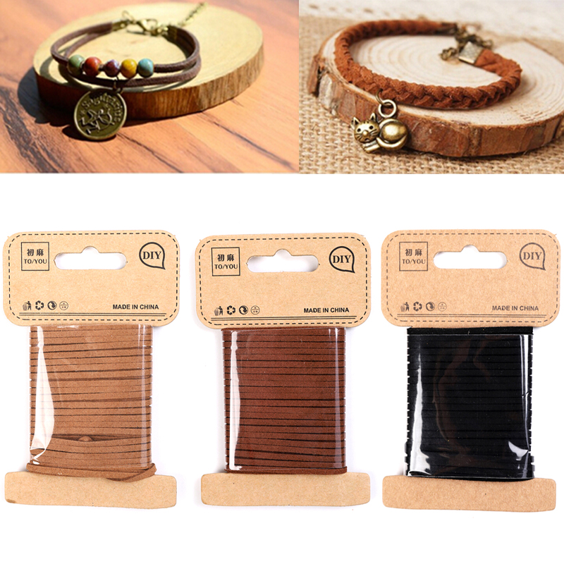 Suede Leather Cord String Rope Thread DIY Jewelry Making Findings Decorative Multi Color Korean Velvet Leather Cord 2mmX5M