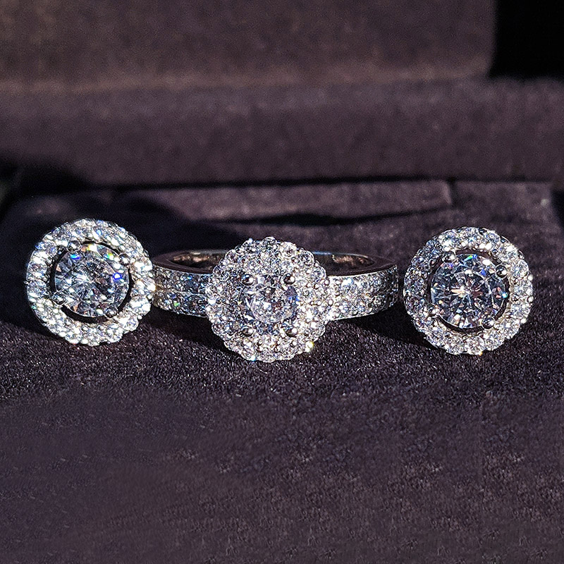 2pcs Pack 925 Sterling Silver Jewelry set halo Engagement ring round stud earring for Wedding gift