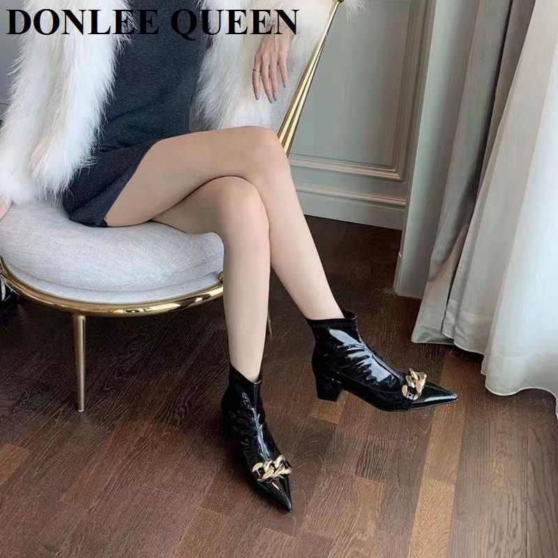 Femme Fermeture Éclair Chaîne Dames brevet Boucle Chelsea Fashion Zip Cheville Pointure