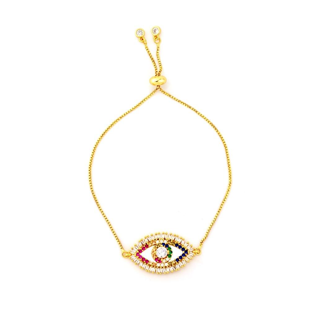 Горячее золото циркония браслет и браслет женский Радужное покрытие браслет Роскошный Регулируемый сердце злой глаз змея цепь браслет - Окраска металла: BRB64-1