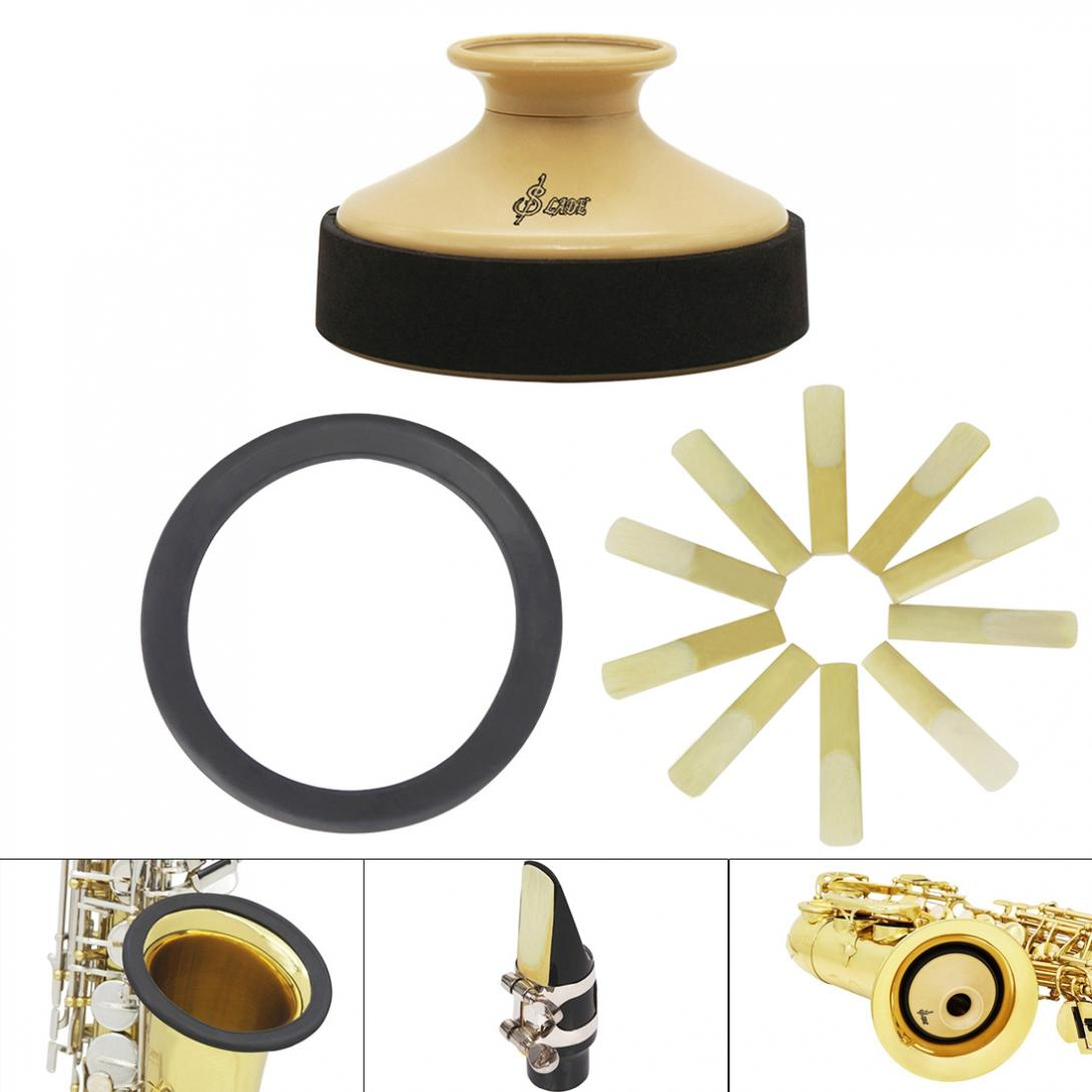 Alto Sax Accessories Kit With ABS Saxophone Mute + Rubber Protector Silencer Ring + 10pcs Reeds Saxophone Mute