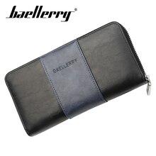 Baellerry Wallet Men Business Patchwork Long PU Leather Zipper Porta Clutch Bag Smartphone Holder Card