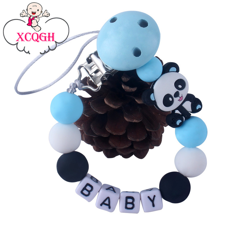 XCQGH Pacifier Clip Baby Silicone Beads Molar Mini Panda Teether Pacifier Chain Clip