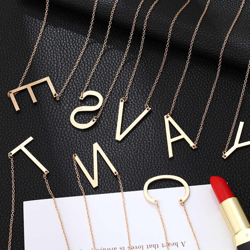 2019 חדש מינימליסטי זהב צבע 26 AZ מכתב שרשראות לנשים פאנק ארוך גדול מכתב תליון שרשרת תכשיטים סיטונאי