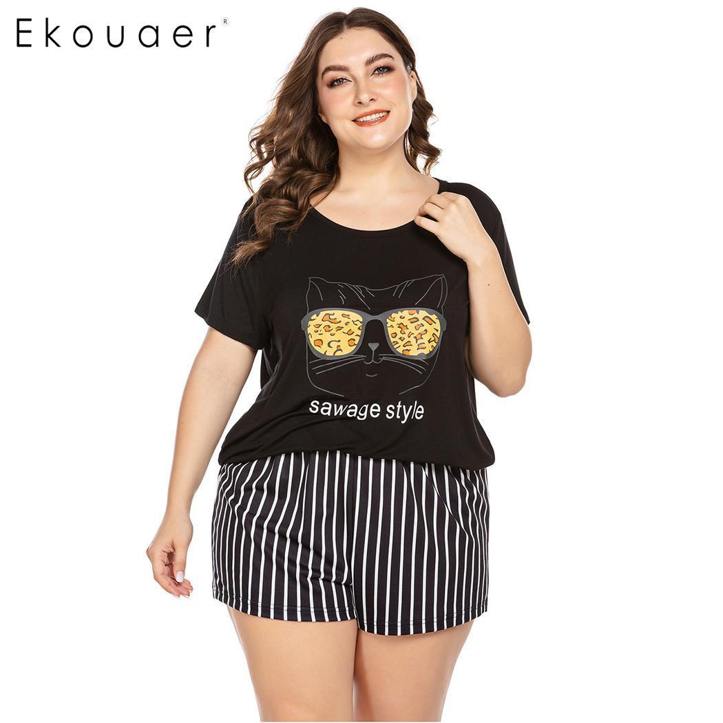 Ekouaer Women Plus Size Pajamas Sets Sleepwear Printed O-Neck Short Sleeve Loose NightShirt Shorts Set Pajamas Set