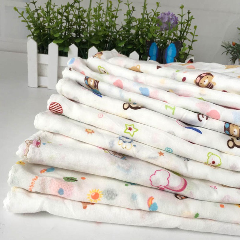 10Pcs/lot Baby Bath Towels Cotton Gauze Flower Print New Born Baby Towels Soft Water Absorption Baby Care Towel Random Style