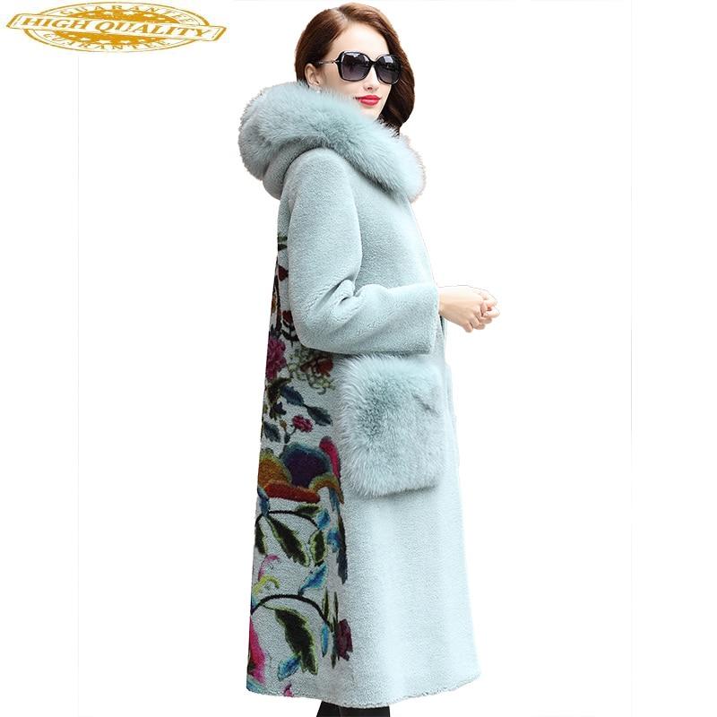 Women Real Wool Fur Coat Sheep Shearing Coats 2020 Fashion Winter Female Jacket Natural Fox Fur Collar Hooded HQ18-MC05C
