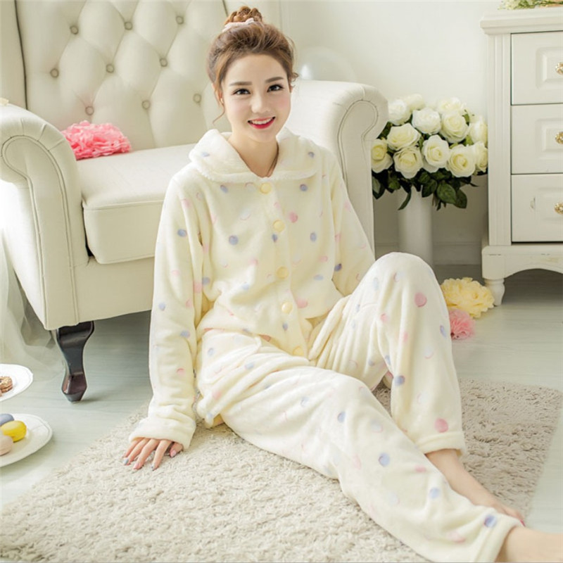 JULY'S SONG Winter Pajamas Set Women Sleepwear Warm Flannel Pink Cute Thick Long Sleeves Pajamas Animal Homewear Home Suit