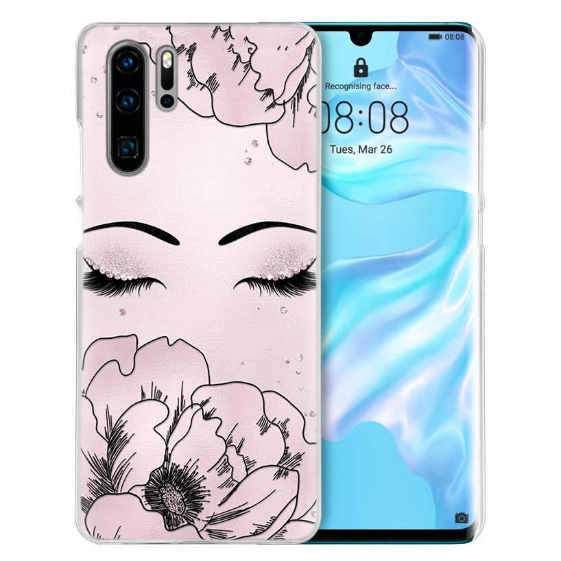 ピンクまつげプリントケース huawei 社メイト 30 20 10 P20 P30 Lite Pro の P スマート Y9 プライム 2019 名誉 8A 8X 10i PC 電話カバーバッグ