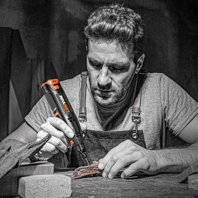 LOMVUM 12v Mini rectifieuse sans fil prise ue 6 vitesses outils rotatifs Kit perceuse graveur stylo pour fraisage polissage du travail du bois