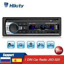 Hikity Autoradio récepteur stéréo FM, Bluetooth, SD, USB, SD, 1 Din, lecteur MP3, entrée auxiliaire, JSD 520 pour voiture