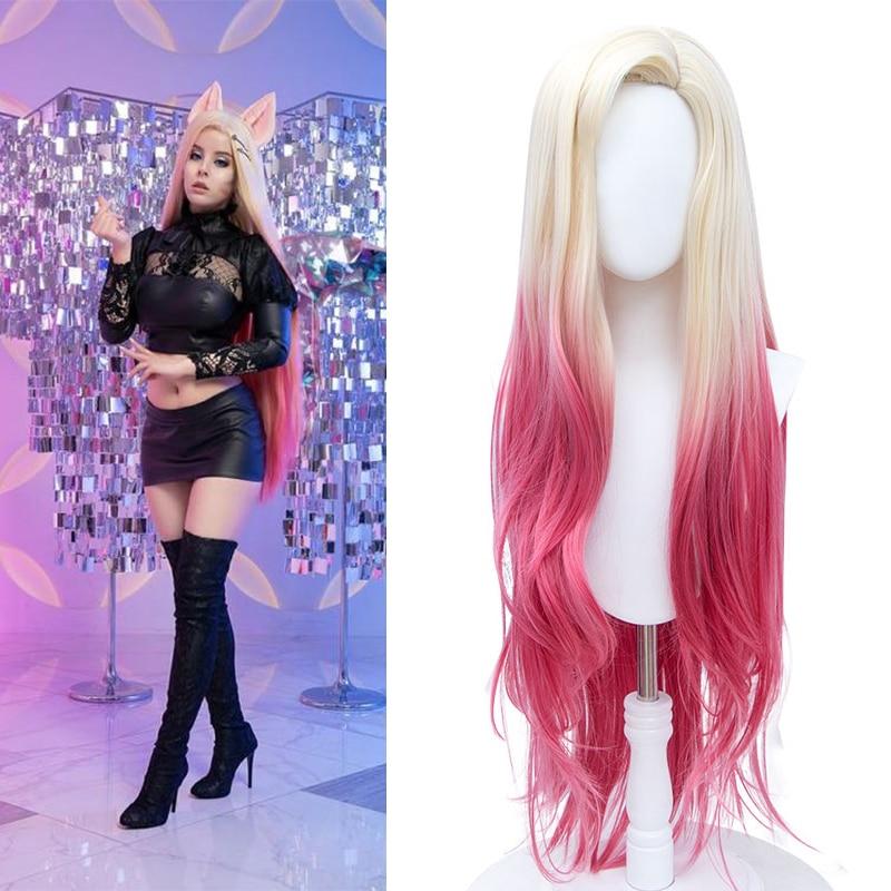 DIANQI длинный синтетический парик Омбре блонд розовый объемная волна боковая часть для женщин Косплей Аниме игра парики для Хэллоуина Вечерние|Синтетические парики для косплея| | АлиЭкспресс