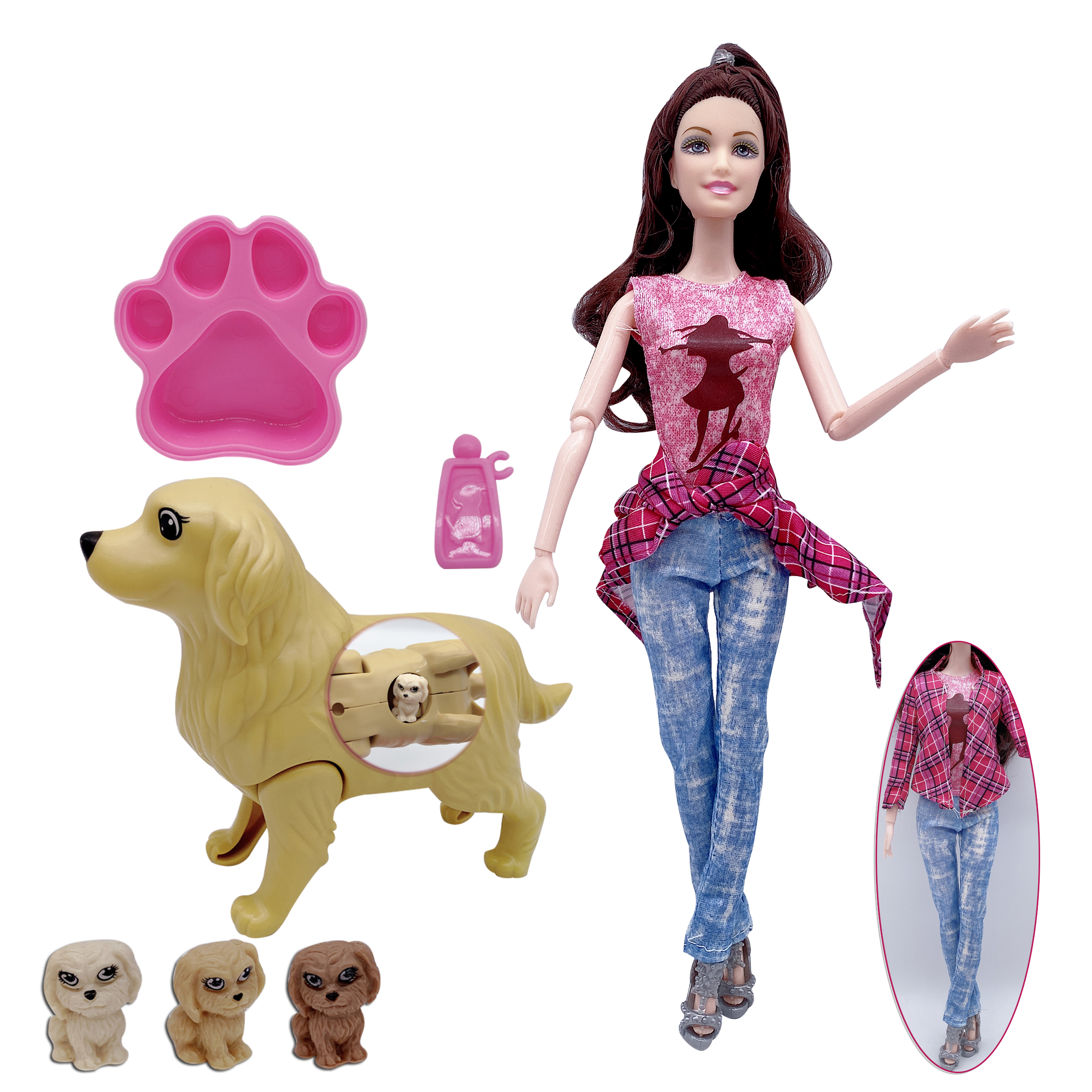 New fashion 11.5-inch 3-piece costume Barbies doll + dog accessories combination children's toys for pregnant and puppies