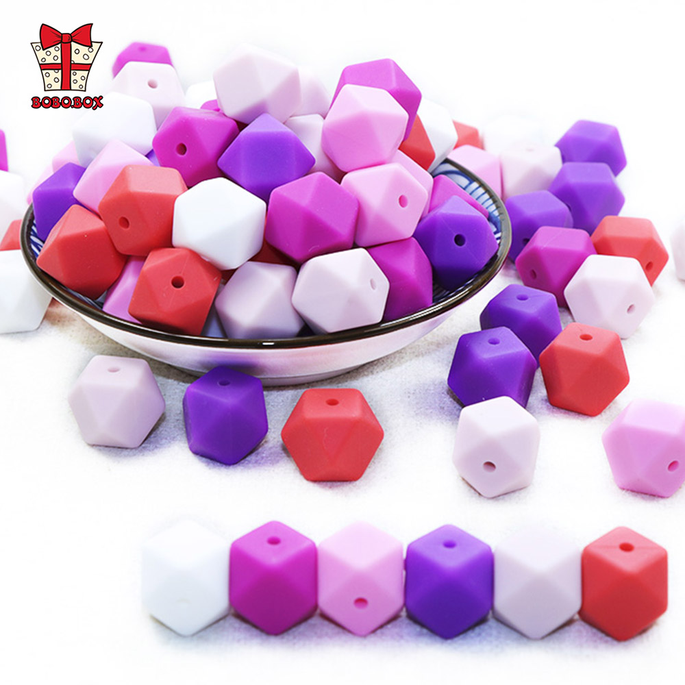BOBO.BOX 20pcs 14mm Hexagon Silicone Beads Baby Teether Eco-friendly BPA Free Baby Teething Pacifier Chain Beads Baby Product