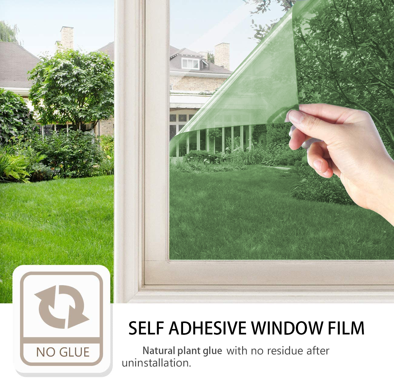 One Way Daytime Privacy Window Tint Self Adhesive Solar Film Anti UV Heat Rejection Green-Silver Mirror Window Film for Home 2
