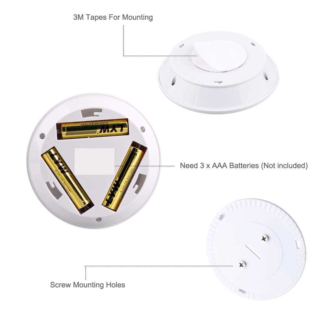 LED Dimmable  Under Cabinet night Light Battery Operated Puck Lighting Closets Lights with Remote Control for Wardrobe kitchen 5