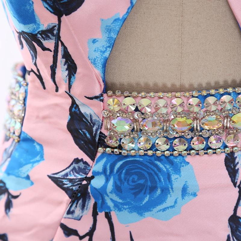 MACloth Pink Mermaid Halter Floor Length Long Crystal Satin Prom Dresses Dress M 268320 Clearance - 4