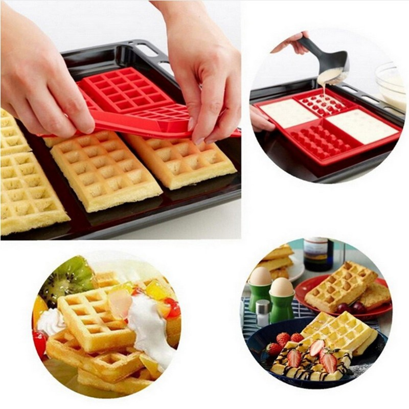 4 Cavity Silicone baking pan Waffles Cake Mould Heart And Square Cooking Tools Kitchen Accessories|baking pan - title=
