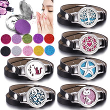 Tree of Life Aromatherapy Bracelet Jewelry Essential Oil Diffuser Locket Bracelet Twist Screw Pu Leather Bracelets for Women Men(China)