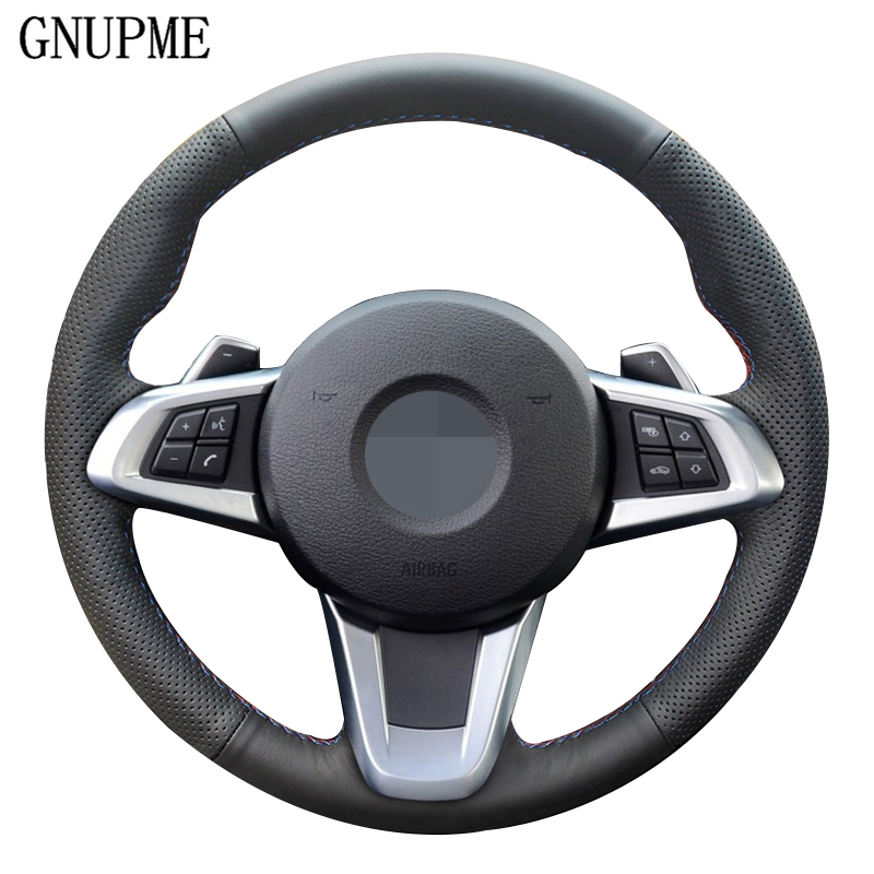DIY Hand-stitched Black Soft Non-slip Artificial Leather Car Steering Wheel Cover for BMW Z4 E89 2009-2016
