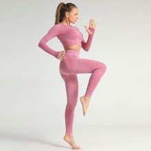 New Quality Sportswear Fitness Sexy Crop Top and Leggings Gym Tracksuit Woman Tw