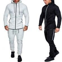 3xl Men Sets Fashion Autumn winter Patchwork Jacket Sporting Suit Hoodies+Sweatpants 2 Pieces Slim Print Tracksuit clothing