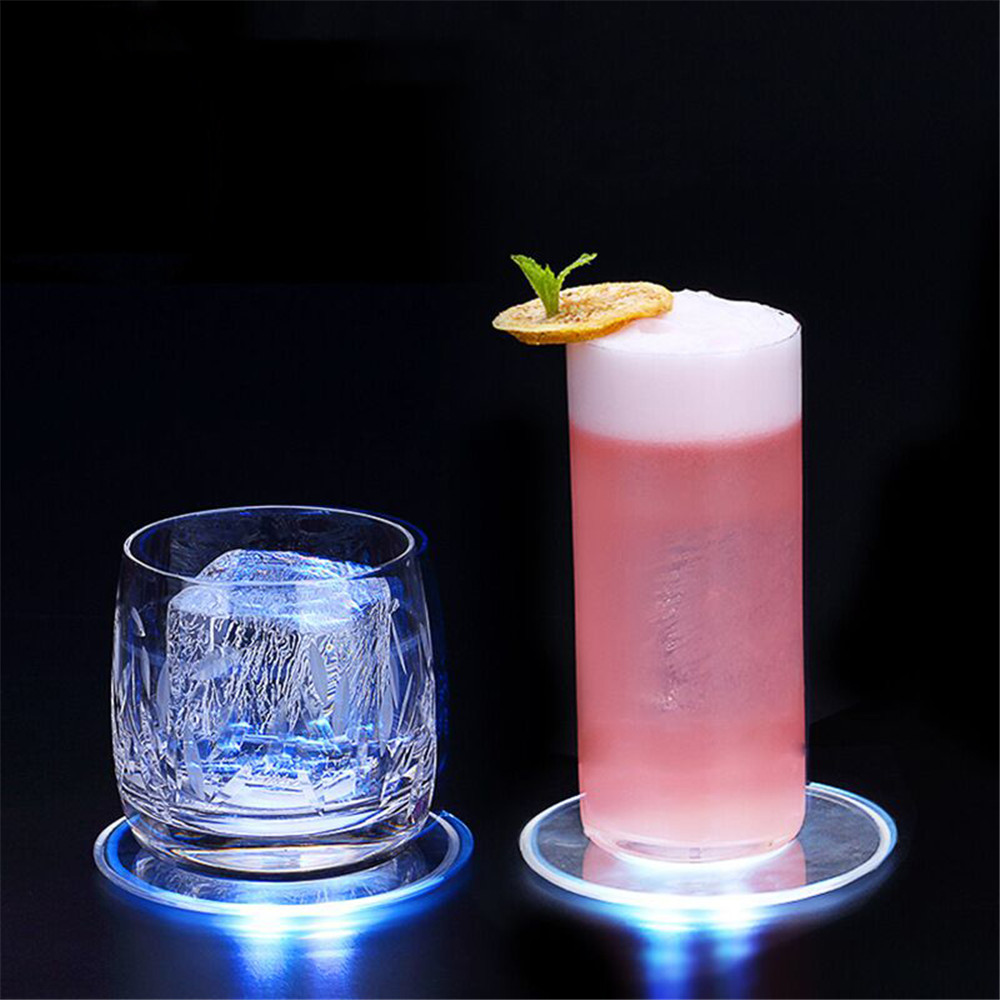 5Pcs Acrylic Crystal Luminous Coaster Cup Mat Led Light Coaster Cocktail Coaster Flash Bar Bartender Lighting Base Lamp
