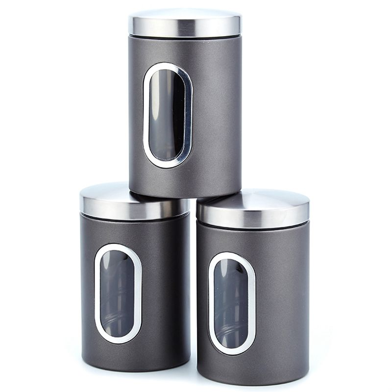 3Pcs 11X16.5Cm Stainless Steel Storage Tank High-Grade Fresh-Keeping Sealed Tea Coffee Canisters Storage Box Creatives Home Gift