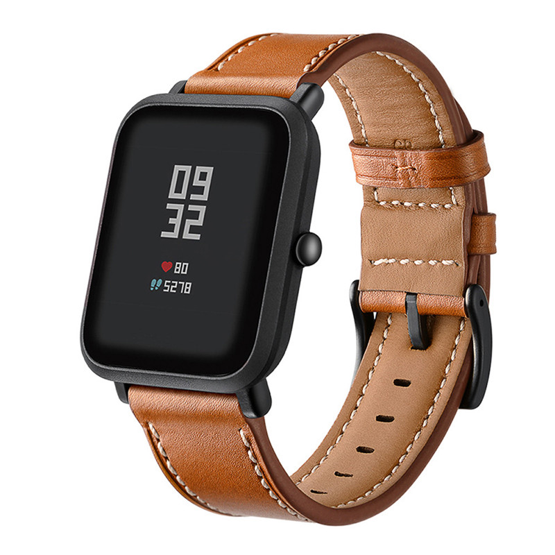 Watch Band For Amazfit Bip Strap Bracelet For Huami Amazfit Pace Stratos GTR 47MM 42MM GTS Watch Wrist Strap Leather Genuine
