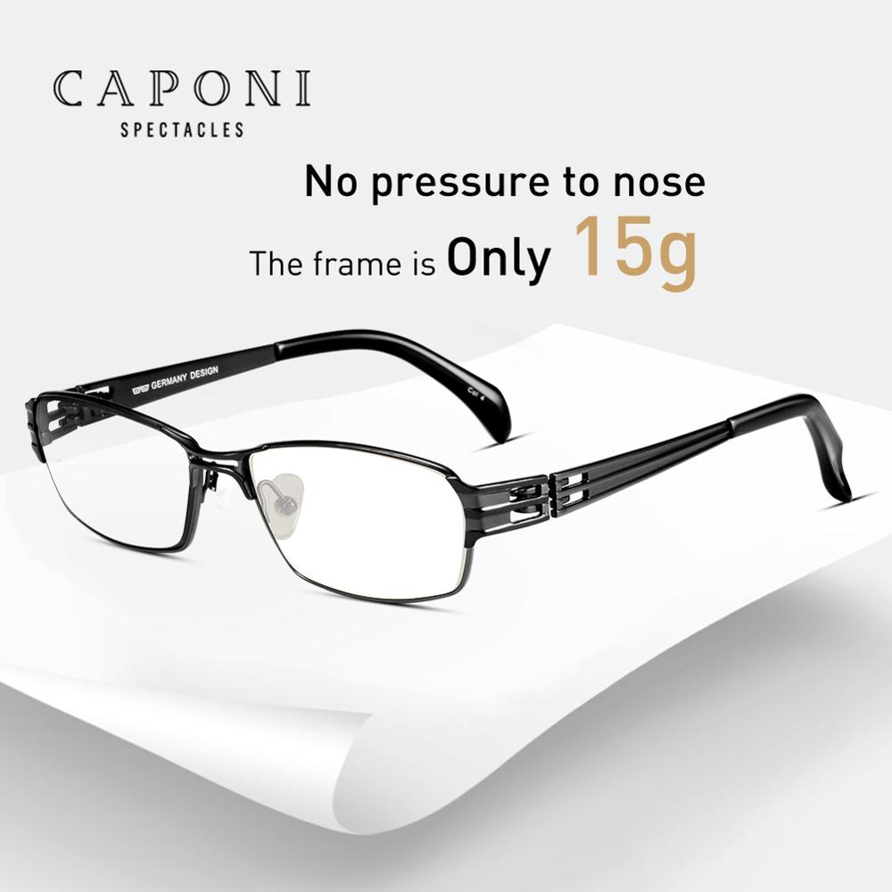 CAPONI Eyewear Frames Male Business Light Pure Titanium Glasses Frame Men Square Computer Glasses Optical For Working  J1172