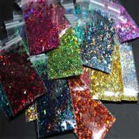 100 g/bolsa 3D de escamas lentejuelas hexagonal tamaño mixto de brillo holográfico en polvo manicura Uv esmalte de uñas de lentejuelas de escamas C #