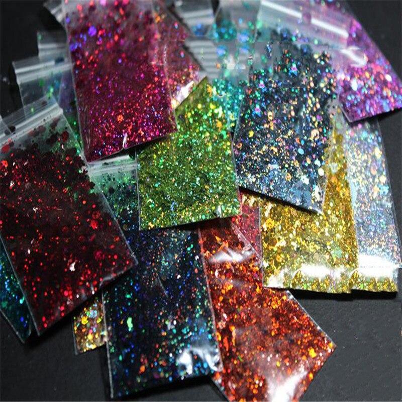 100 g/saco 3D Prego Floco Lantejoulas Hexágono Tamanho Mista Flocos Holográfico Glitter Em Pó Uv Manicure Unha Polonês Floco de Lantejoulas DIY C #
