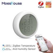 Tuya Smart ZigBee Smart Temperatur Und Feuchtigkeit Sensor Mit LCD Display Batterie Betrieben Mit Smart Leben App Alexa Google Hause