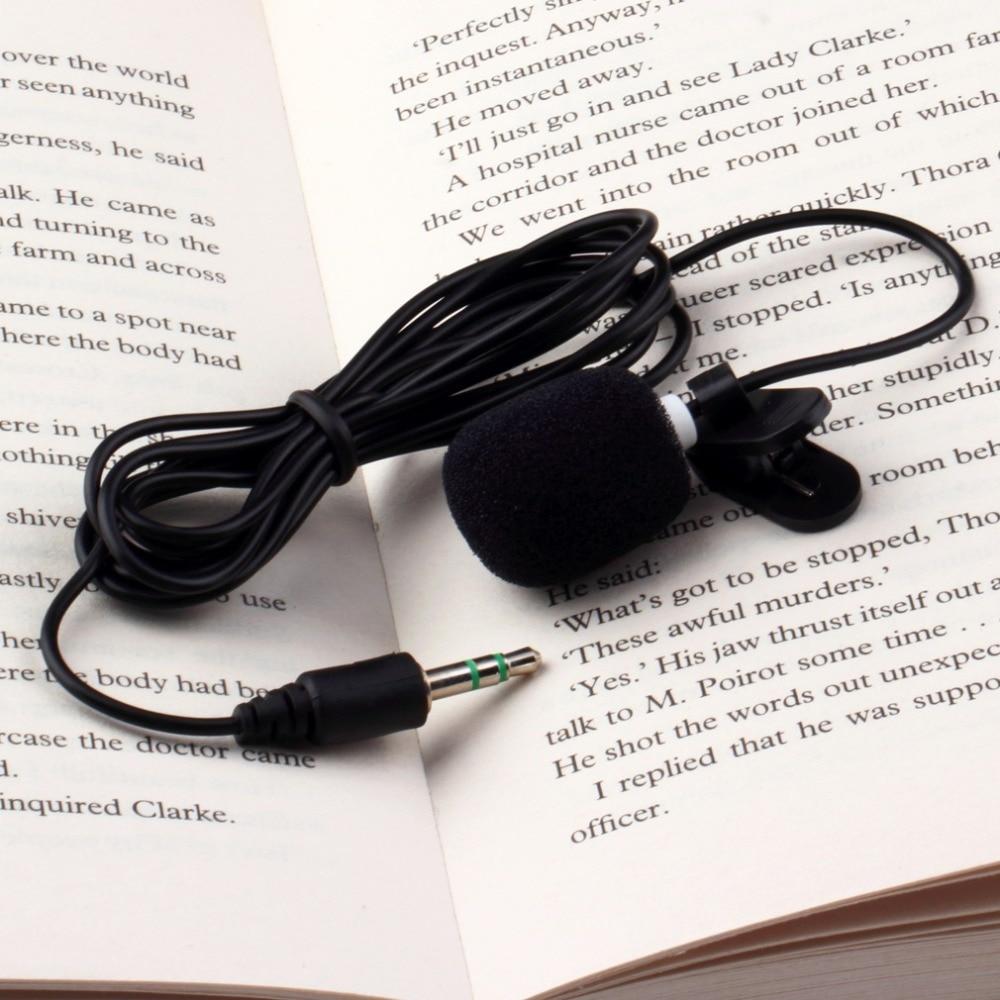 Black Portable Mini 3.5mm 30Hz -15000Hz Tie Lapel Lavalier Clip Microphone For Lectures Teaching Lessons Education