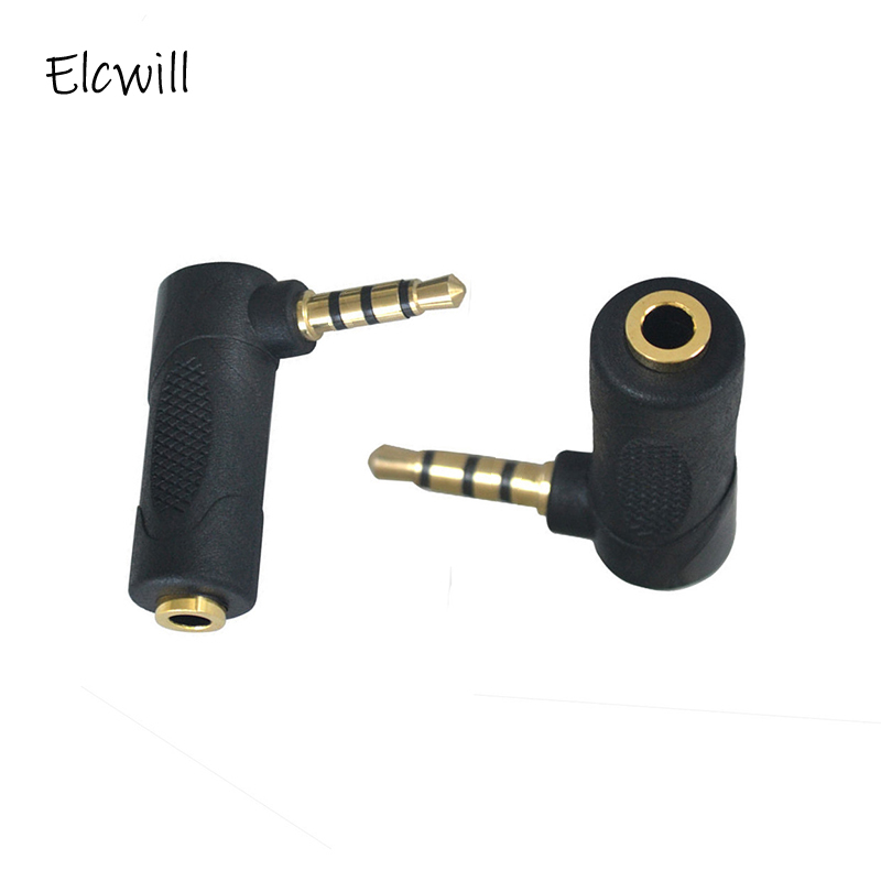 3.5mm Audio Stereo Adapter 90 Degree 3 Pole Right Angle Female To Male 4 Pole Plug L Shape AUX Headphone Jack Converter