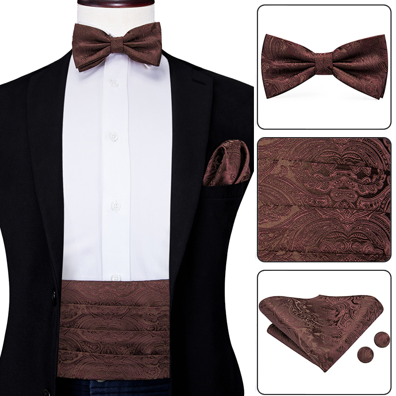 YF-2020 Mens Brown Cummerbunds Bow Ties Pocket Squares Cufflinks Set Men's Adjustable Pleated Tuxedo Cummerbunds Elastic Belt