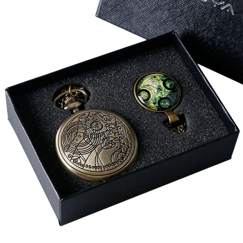 Купить с кэшбэком Bronze Color Theme Antique Pocket Watch With Symbols Design Glass Dome Pendant Packing as Christmas Gifts for Men Women Kids