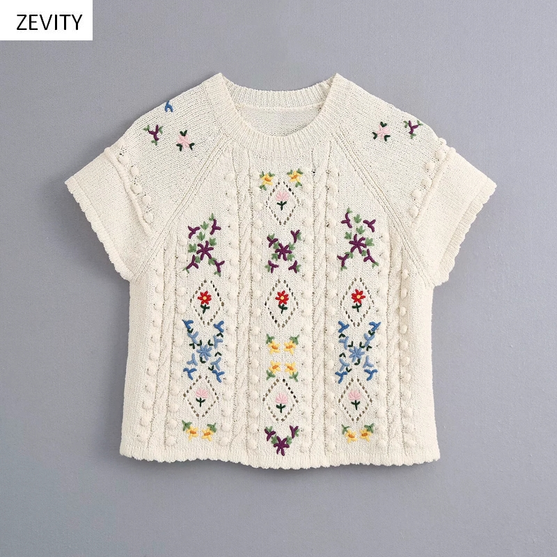 Women Fashion Floral Embroidery Short Sleeve Knitting Casual Slim Sweater Female Ball Stitching Retro Pullover Sweater Tops S263