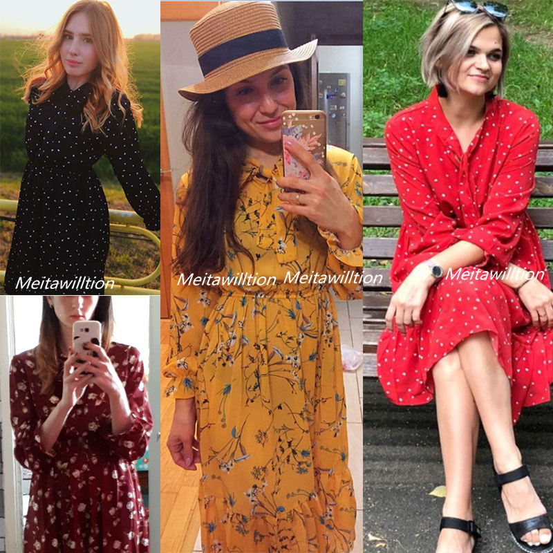 H9e844940ca0d48de99d98e3dc5531d8bo Summer Autumn Chiffon Dresses 2019 Casual Long Sleeve Floral Print Party Dress Female High Elastic Waist Bohemian Dress Vestidos