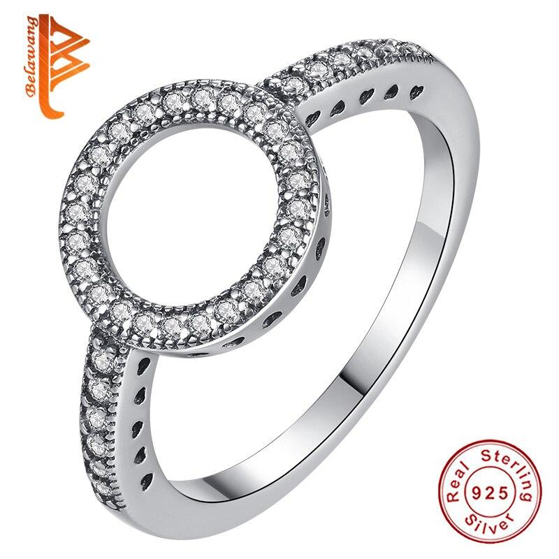 BELAWANG 100% подлинное серебро 925 пробы навсегда прозрачный черный круглый фианит круглые кольца на пальцы для женщин ювелирные изделия подарок на день матери Кольца      АлиЭкспресс