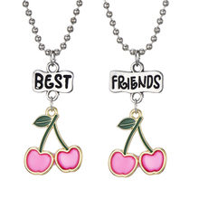 2 Styles Kids Necklace Boy Girl Cherry Strawberry Pendant Necklace Long Beads Chain Friendship Jewelry For Children(China)