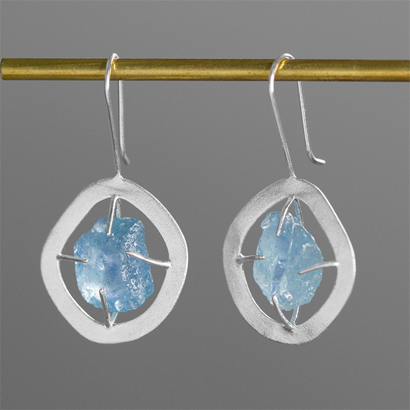 INATURE 925 Sterling Silver Fine Jewelry Blue Aquamarine Drop Earrings For Women