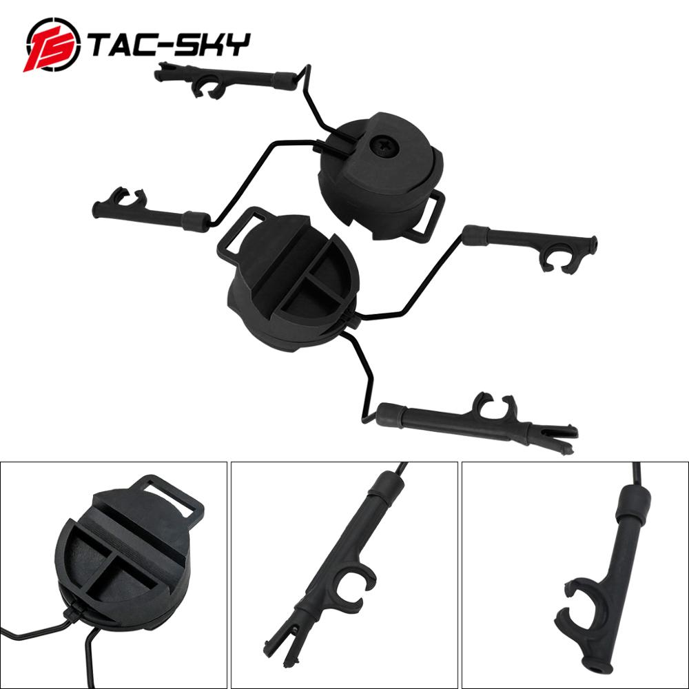 TAC-SKY Tactical Headset Comtac I Ii Iii Peltor Helmet ARC OPS-CORE Helmet Track Adapter Headset Bracket Tactical Bracket BK