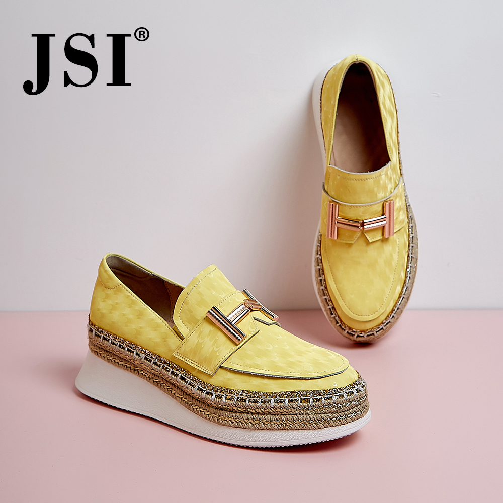 JSI 2020 Spring New Casual Flats Platform Straw British Slip-on Women Shoes Comfortable Genuine Leather Wedge Shoes JO395