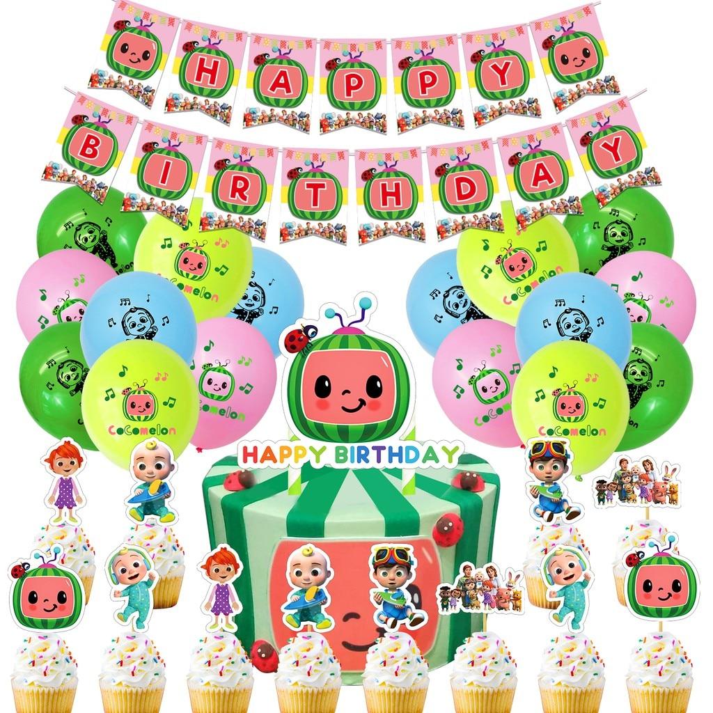 Cocomelon Theme Birthday Decoration Coco Ballons Set Balloon Toy Party Balloons