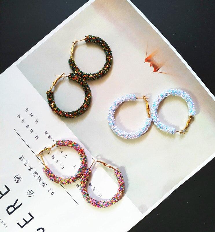 Brand New Design Fashion Charm Hoop Earrings Geometric Round Shiny  Earring For Women Jewelry Wholesale