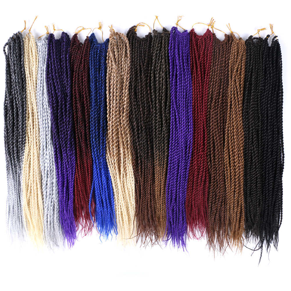 14-22Inch Micro Senegalese Crochet Twist Braids 30strands/pack Blonde Grey Ombre Synthetic Braiding Hair Jamaican Pre Twisted